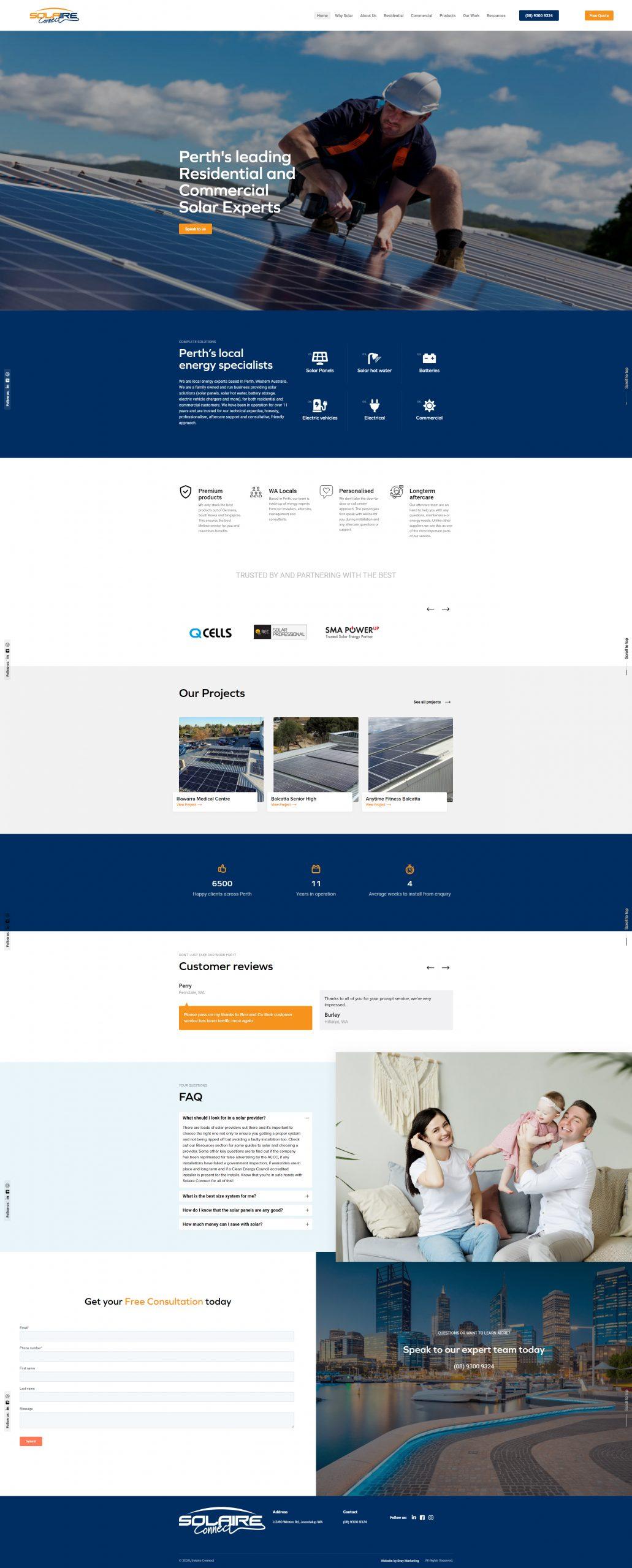 Solaire Connect Website Home- Bray Marketing - Web Design Perth - Marketing Perth