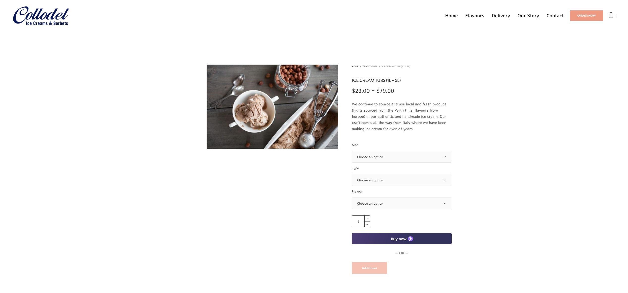 Collodel Ice Cream Sorbets - Kalamunda Perth - Bray Marketing Website - Order